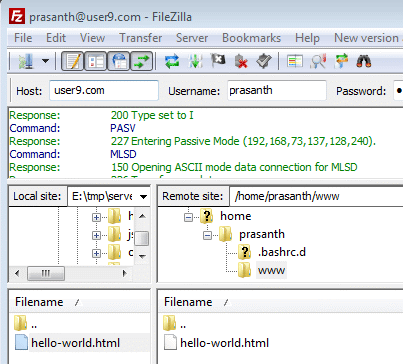 how to create a new ftp login