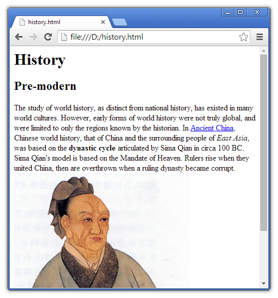 html in browser