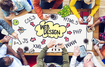 Diverse People Working on a Web Design Concept