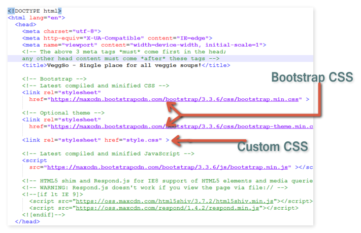 html head with bootstrap