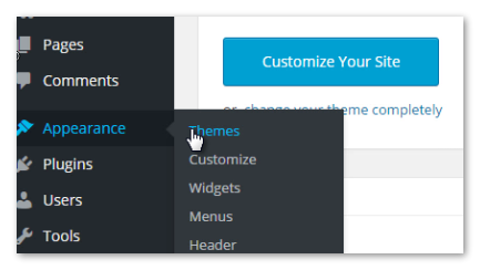 wordpress themes menu item