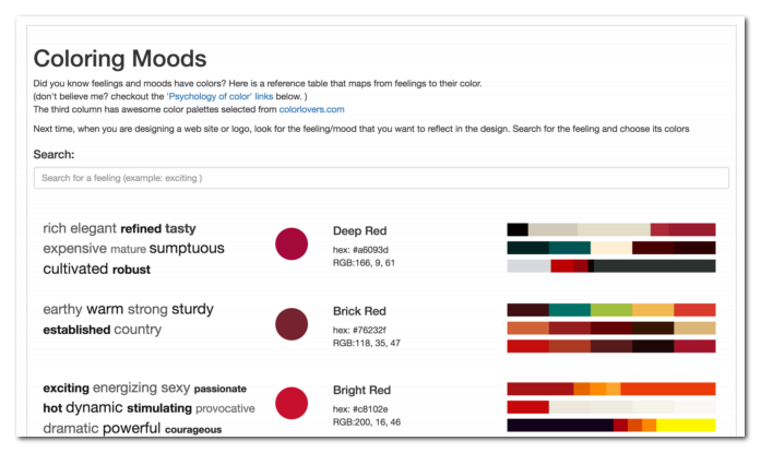 Find the emotion color mapping tool here http://tools.fastwebstart.com/colors