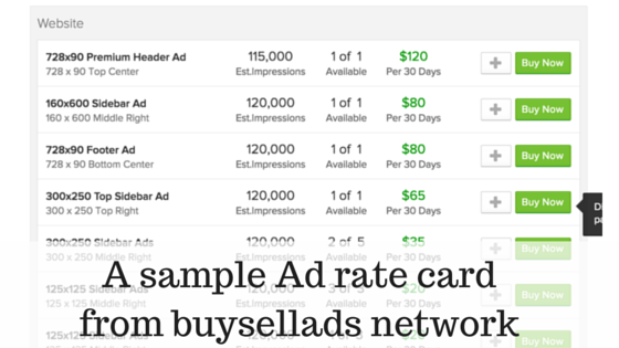 A sample Ad rate card from buysellads network (1)