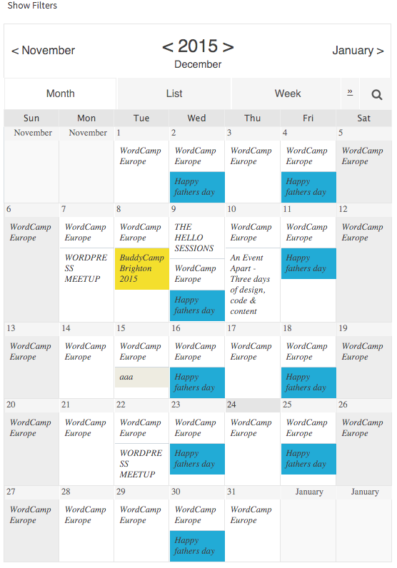Event Calendar WD wordpress plugin