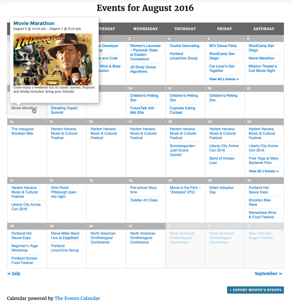 events calendar wordpress plugin