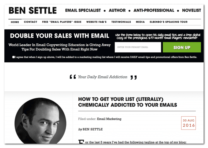 bensettle.com an example of blog being a resume and lead magnet